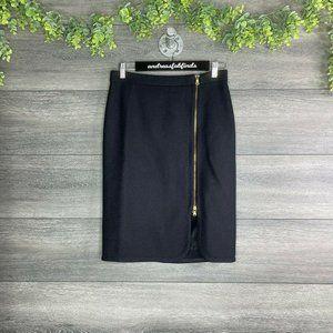 NWT J. Crew Exposed Zipper Black Wool Pencil Skirt